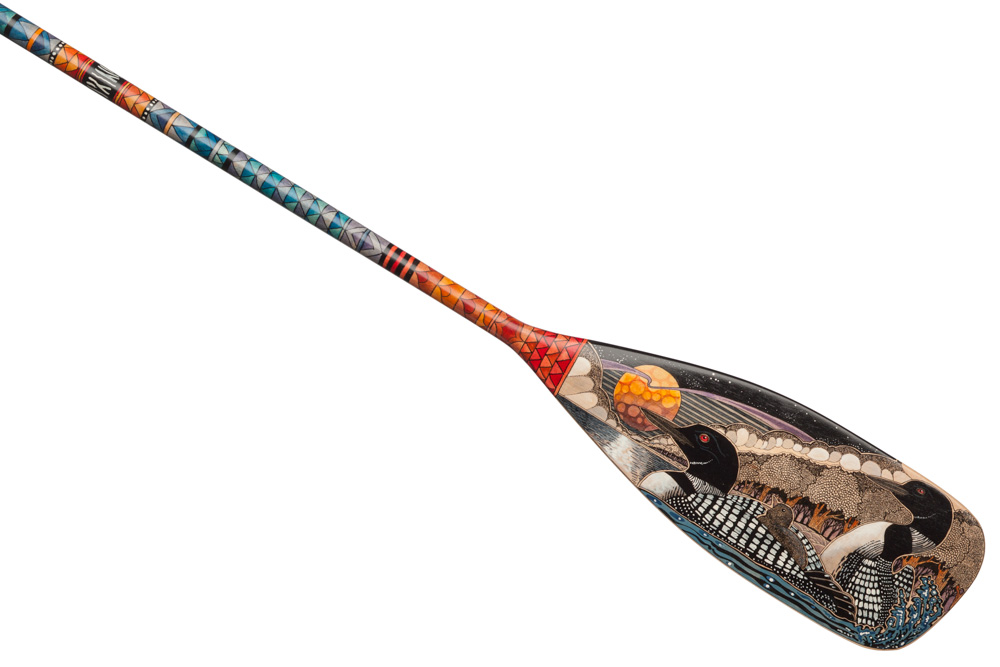 Hand Painted Canoe Paddle 15 By John Doherty