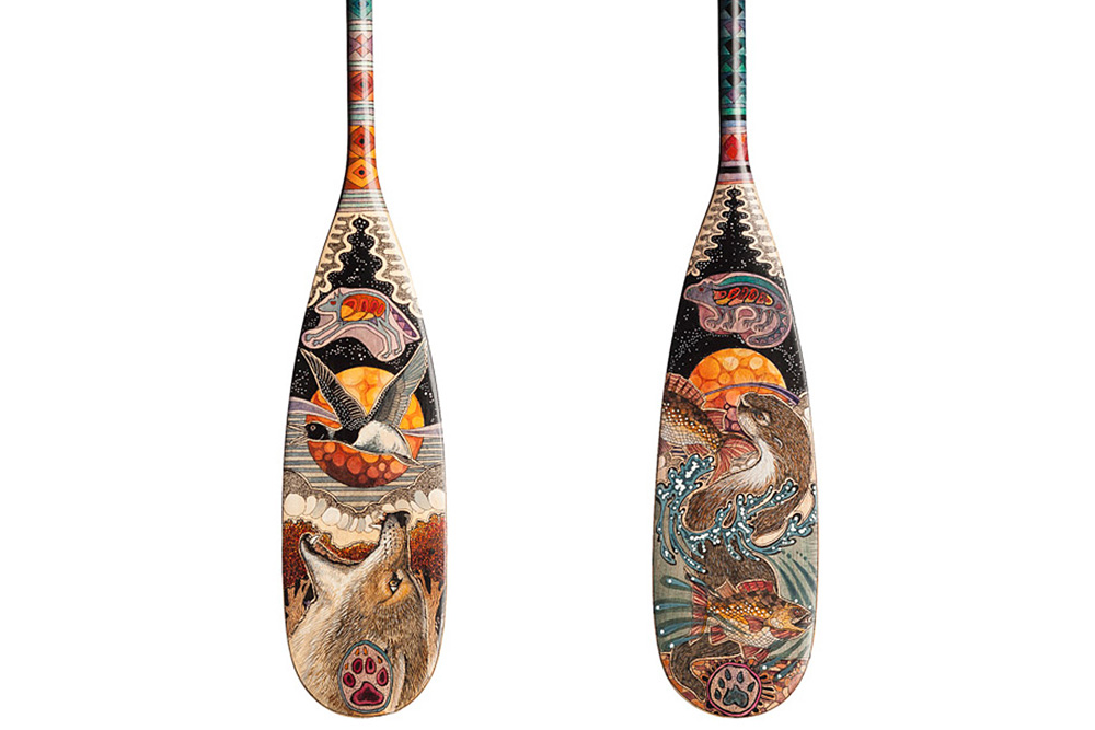 Hand Painted Canoe Paddle 22 By John Doherty